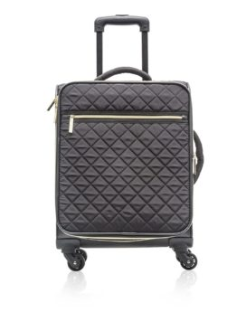 Cosmopolitan Quilted Carry-on Suitcase C0648 COS Black Front